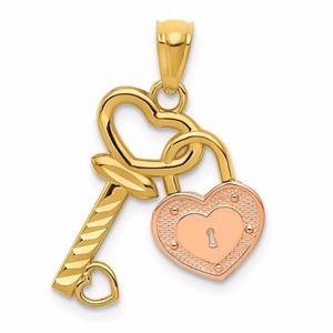 Jewelry - 14k Two-Tone Heart Lock And Key Pendant